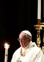 Pope Francis holds a candle as he arrives to lead the Feast of the Presentation of the Lord mass in Saint Peter's Basilica at the Vatican, on February 2, 2017.<br /> UPDATE IMAGES PRESS/Isabella Bonotto<br /> STRICTLY ONLY FOR EDITORIAL USE