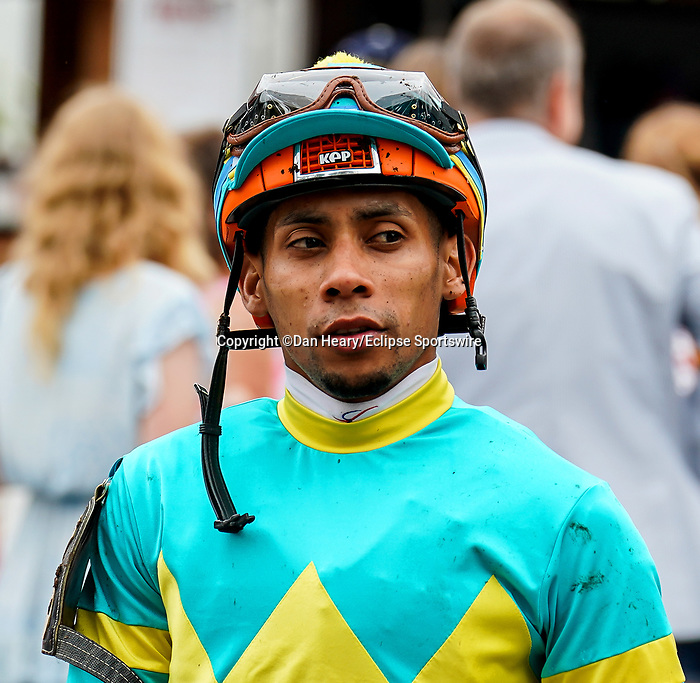 July 17, 2021: Jockey Manny Franco before a race on opening weekend at Saratoga Race Course in Saratoga Springs, N.Y. on July 17, 2021. Dan Heary/Eclipse Sportswire/CSM