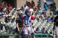 Stockton Ports catcher JJ Schwarz (29) during a California League game against the San Jose Giants on April 9, 2019 in Stockton, California. San Jose defeated Stockton 4-3. (Zachary Lucy/Four Seam Images)