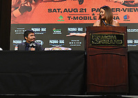 LAS VEGAS, NV - AUG 18: Manny Pacquiao and Heidi Androl at a press conference at the MGM Grand Garden Arena on August 18, 2021 for their upcoming Fox Sports PBC pay-per-view fight in Las Vegas, Nevada. Pacquiao vs Ugas pay-per-view will be on August 21 at T-Mobile Arena in Las Vegas. (Photo by Scott Kirkland/Fox Sports/PictureGroup)