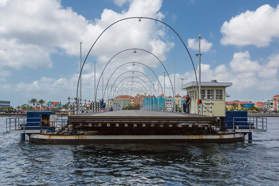Willemstad, Curacao, Lesser Antilles.  Queen Emma Pontoon Bridge Opening for Ship Traffic to Pass.