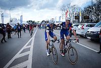 teammates Tom Boonen (BEL/Etixx-QuickStep) & Stijn Vandenbergh (BEL/Etixx-QuickStep) after finishing<br /> <br /> 100th Ronde van Vlaanderen 2016