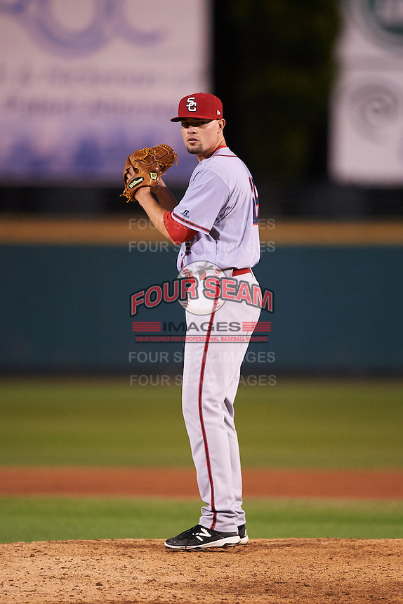 Syracuse Chiefs relief pitcher Koda Glover (29) gets ready to deliver a pitch during a game against the Rochester Red Wings on July 1, 2016 at Frontier Field in Rochester, New York.  Rochester defeated Syracuse 5-3.  (Mike Janes/Four Seam Images)