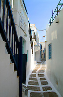 Narrow stone path,  Mykonos, Greece