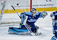 1 December 2018: University of Maine Black Bear Goaltender Carly Jackson, a Junior from Amherst, Nova Scotia, has one drift past the goal in the second period against the University of Vermont Catamounts at Gutterson Fieldhouse in Burlington, Vermont. The Lady Cats defeated the Lady Bears 3-2 in the second game of their 2-game Hockey East series. Mandatory Credit: Ed Wolfstein Photo *** RAW (NEF) Image File Available ***