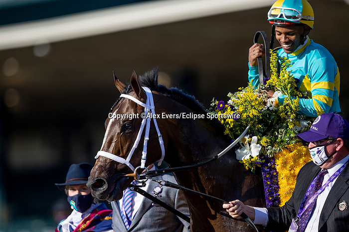 November 6, 2020: Fire At Will, ridden by Ricardo Santana Jr. wins the Breeders' Cup Juvenile Turf at  at Keeneland Racetrack in Lexington, Kentucky on November 6, 2020. Alex Evers/Eclipse Sportswire/Breeders Cup