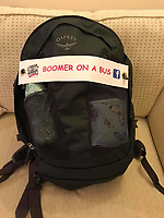 BNPS.co.uk (01202 558833)<br /> Pic: PennyIbbott/BNPS<br /> <br /> Pictured: Penny's backpack.<br /> <br /> Second time lucky...<br /> <br /> An intrepid pensioner has restarted her mission to travel around England on her free bus pass for charity 18 months after she had to cancel due to Covid.<br /> <br /> Grandmother Penny Ibbott was 16 days into her journey in March last year when Boris Johnson announced that people should stop any non-essential travel as the pandemic hit.<br /> <br /> The 75-year-old was devastated to call it off after months of planning, but has not let it beat her and has now set off to do the whole route again.