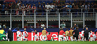 Football Soccer: UEFA Champions League -Group Stage- Group F Internazionale Milano vs  SK Slavia Praha, Giuseppe Meazza stadium, September 17, 2019.<br /> Slavia Praha's players greet supporters at the end of the Uefa Champions League football match between Internazionale Milano and Slavia Praha at Giuseppe Meazza (San Siro) stadium, September 17, 2019.<br /> Match's result 1-1.<br /> UPDATE IMAGES PRESS/Isabella Bonotto