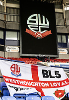 Supporters flags line the stands at the University of Bolton stadium <br /> <br /> Photographer Andrew Kearns/CameraSport<br /> <br /> The EFL Sky Bet League Two - Bolton Wanderers v Oldham Athletic - Saturday 17th October 2020 - University of Bolton Stadium - Bolton<br /> <br /> World Copyright © 2020 CameraSport. All rights reserved. 43 Linden Ave. Countesthorpe. Leicester. England. LE8 5PG - Tel: +44 (0) 116 277 4147 - admin@camerasport.com - www.camerasport.com