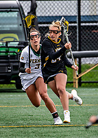 17 April 2021: UMBC Retriever Attacker Jenna McDermott, a Sophomore from Westminster, MD, in action against the University of Vermont Catamounts at Virtue Field in Burlington, Vermont. The Catamounts fell to the Retrievers 11-8 in the America East Women's Lacrosse matchup. Mandatory Credit: Ed Wolfstein Photo *** RAW (NEF) Image File Available ***