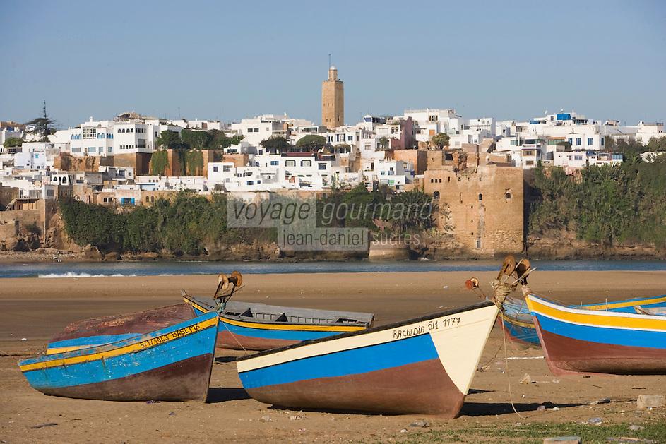 Afrique/Afrique du Nord/Maroc/Rabat: la kasbah des Oudaïas vue depuis la plage de Salé