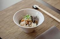 Chestnut-spiked rice with black truffle shavings at the Saison restaurant, Rue Gubernatis, Nice, France 30 November 2011