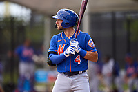 New York Mets Blake Tiberi (4) bats during a Minor League Spring Training game against the Houston Astros on April 27, 2021 at FITTEAM Ballpark of the Palm Beaches in Palm Beach, Fla.  (Mike Janes/Four Seam Images)
