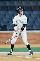Will Craig (22) of the Wake Forest Demon Deacons at bat against the Towson Tigers at Wake Forest Baseball Park on February 15, 2014 in Winston-Salem, North Carolina.  The Tigers defeated the Demon Deacons 5-4.  (Brian Westerholt/Four Seam Images)