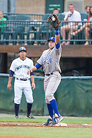 Burlington Royals first baseman Brandon Dulin (26) stretches for a throw during the game against the Pulaski Mariners at Calfee Park on June 20, 2014 in Pulaski, Virginia.  The Mariners defeated the Royals 6-4. (Brian Westerholt/Four Seam Images)