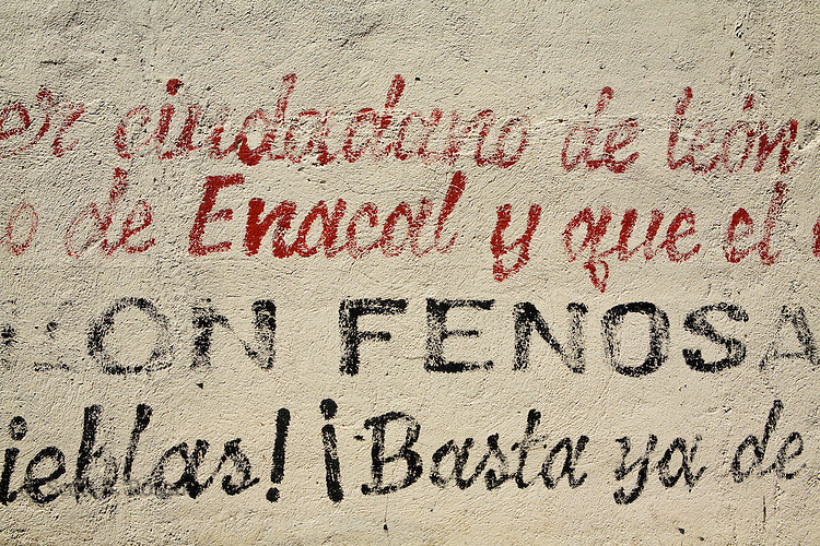 Sandinista (FSLN) grafitti and words inside the Museum of the Revolution, Leon, Nicaragua
