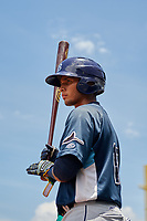 GCL Rays designated hitter Kevin Melendez (13) on deck during a game against the GCL Red Sox on August 1, 2018 at JetBlue Park in Fort Myers, Florida.  GCL Red Sox defeated GCL Rays 5-1 in a rain shortened game.  (Mike Janes/Four Seam Images)