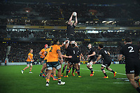 NZ's Brodie Retallick takes lineout ball during the Bledisloe Cup rugby match between the New Zealand All Blacks and Australia Wallabies at Eden Park in Auckland, New Zealand on Saturday, 7 August 2021. Photo: Dave Lintott / lintottphoto.co.nz