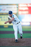 Everett AquaSox relief pitcher Grant Spranger (30) follows through on his delivery during a Northwest League game against the Tri-City Dust Devils at Everett Memorial Stadium on September 3, 2018 in Everett, Washington. The Everett AquaSox defeated the Tri-City Dust Devils by a score of 8-3. (Zachary Lucy/Four Seam Images)