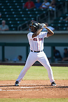 Mesa Solar Sox first baseman Josh Ockimey (28), of the Boston Red Sox organization, at bat during an Arizona Fall League game against the Peoria Javelinas at Sloan Park on October 24, 2018 in Mesa, Arizona. Mesa defeated Peoria 4-3. (Zachary Lucy/Four Seam Images)