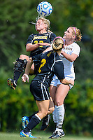 Appalachian State forward Jenn Bass (22) and Texas State defender Brenna Smith (3) go up for a header during first half of an NCAA soccer game, Sunday, October 05, 2014 in San Marcos, Tex. Texas State leads 1-0 at the halftime. (Mo Khursheed/TFV Media via AP Images)