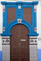 Afrique/Afrique du Nord/Maroc/Rabat: la kasbah des Oudaïas détail porte
