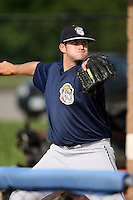 August 23 2008:  Pitcher Bryce Stowell (22) of the Mahoning Valley Scrappers, Class-A affiliate of the Cleveland Indians, during a game at Dwyer Stadium in Batavia, NY.  Photo by:  Mike Janes/Four Seam Images