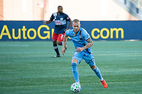 FOXBOROUGH, MA - SEPTEMBER 19: Gudmundur Thorarinsson #20 of New York City FC during a game between New York City FC and New England Revolution at Gillette on September 19, 2020 in Foxborough, Massachusetts.