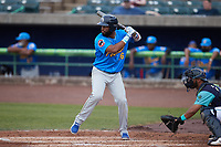 Jonathan Sierra (56) of the Myrtle Beach Pelicans at bat against the Lynchburg Hillcats at Bank of the James Stadium on May 22, 2021 in Lynchburg, Virginia. (Brian Westerholt/Four Seam Images)