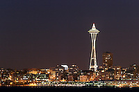 Seattle Space Needle and Elliot Bay viewed from West Seattle, Seattle, Washington, US