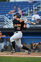 West Virginia Black Bears catcher Daniel Arribas (23) at bat during a game against the Batavia Muckdogs on August 30, 2015 at Dwyer Stadium in Batavia, New York.  Batavia defeated West Virginia 8-5.  (Mike Janes/Four Seam Images)
