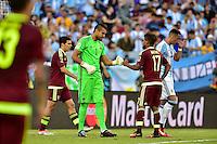 Foxborough, MA - Saturday June 18, 2016: Sergio Romero, Josef Martinez prior to a Copa America Centenario quarterfinal match between Argentina (ARG) and Venezuela (VEN)  at Gillette Stadium.