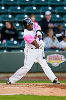 Courtney Hawkins (10) of the Winston-Salem Dash swings over the top of a pitch against the Wilmington Blue Rocks at BB&T Ballpark on April 20, 2013 in Winston-Salem, North Carolina.  The Dash defeated the Blue Rocks 4-2 in game one of a double-header.  (Brian Westerholt/Four Seam Images)
