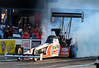 Sep 13, 2013; Charlotte, NC, USA; NHRA top fuel dragster driver Clay Millican during qualifying for the Carolina Nationals at zMax Dragway. Mandatory Credit: Mark J. Rebilas-