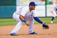 Iowa Cubs third baseman Jeimer Candelario (29) gets in defensive position during a game against the Colorado Springs Sky Sox on September 4, 2016 at Principal Park in Des Moines, Iowa. Iowa defeated Colorado Springs 5-1. (Brad Krause/Four Seam Images)