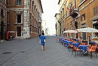 Italy: Perugia--Continuing up Corso Vannucci. Outdoor cafe on right. Photo '83.