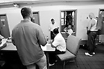 BEACON, NEW YORK-AUGUST:  Carl Rothe goes over the test answers with the prisoners in The Puppies Behind Bars Program at Fishkill Correctional Facility. The class work for the program involves studying anatomy and general understanding of dog training and behavior.