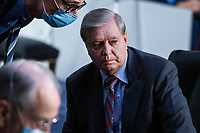 United States Senator Lindsey Graham (Republican of South  Carolina), Chairman, US Senate Judiciary Committee, attends the Senate Judiciary Committee executive business meeting on Supreme Court justice nominee Amy Coney Barrett in Hart Senate Office Building on Thursday, October 15, 2020.<br /> Credit: Tom Williams / Pool via CNP /MediaPunch