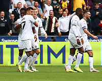 25th September 2021; Swansea.com Stadium, Swansea, Wales; EFL Championship football, Swansea versus Huddersfield; Joel Piroe of Swansea City celebrates after scoring his sides first goal to make it 1-0 in the 18th minute