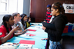 College fair and tour held at university campus for high school age graduates of Headstart program, hosted by Jumpstart and volunteers some from low SES attending college as the first in their families