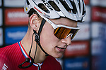 Mathieu Van Der Poel (BEL) Corendon-Circus at sign on before the start of Stage 1 of the 2018 Artic Race of Norway, running 184km from Vadso to Kirkenes, Norway. 16th August 2018. <br /> <br /> Picture: ASO/Pauline Ballet | Cyclefile<br /> All photos usage must carry mandatory copyright credit (© Cyclefile | ASO/Pauline Ballet)