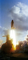 Cape Kennedy (FLA), USA - June 18 , 1983 , CHALLENGER Space shuttle lift off with Sally Ride , First American woman in space