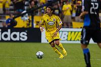 27 MAY 2009: #4 Gino Padula, Columbus Crew defender in action during the San Jose Earthquakes at Columbus Crew MLS game in Columbus, Ohio on May 27, 2009. The Columbus Crew defeated San Jose 2-1