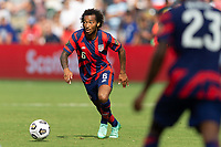 KANSAS CITY, KS - JULY 18: Gianluca Busio #6 of the United States during a game between Canada and USMNT at Children's Mercy Park on July 18, 2021 in Kansas City, Kansas.