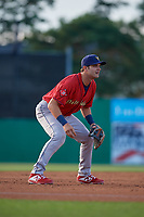 State College Spikes third baseman Shane Benes (44) during a NY-Penn League game against the Batavia Muckdogs on July 2, 2019 at Dwyer Stadium in Batavia, New York.  Batavia defeated State College 1-0.  (Mike Janes/Four Seam Images)