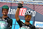Marcus Burghardt (GER) and Peter Sagan (SVK) Bora-Hansgrohe at sign on before the start of the 101st edition of Milan-Turin 2020 running 198km from Mesero to Stupinigi (Nichelino), Italy. 5th August 2020.<br /> Picture: LaPresse/Gian Mattia D'Alberto | Cyclefile<br /> <br /> All photos usage must carry mandatory copyright credit (© Cyclefile | LaPresse/Gian Mattia D'Alberto)