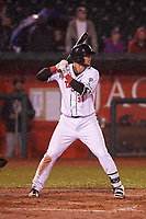 Lansing Lugnuts Jake Brodt (30) at bat during a Midwest League game against the Wisconsin Timber Rattlers at Cooley Law School Stadium on May 2, 2019 in Lansing, Michigan. Lansing defeated Wisconsin 10-4. (Zachary Lucy/Four Seam Images)