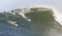 Greg Long, Kenny Skindog Collins. Mavericks Surf Contest in Half Moon Bay, California on February 13th, 2010.