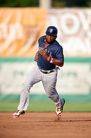Lowell Spinners designated hitter Brandon Phillips (7) running the bases in the top of the third inning during a game against the Auburn Doubledays on July 13, 2018 at Falcon Park in Auburn, New York.  Phillips was promoted to Triple-A Pawtucket after the game; the former All-Star signed a minor league free agent deal with the Boston Red Sox June 27th and played six games with the Spinners batting .318 with one home run and 7 RBI's.  Lowell defeated Auburn 8-5 in ten innings (Mike Janes/Four Seam Images)