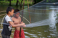 Traditional fishing on the road to Vang Vieng, Laos